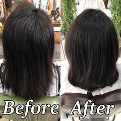 縮毛矯正 ツヤ髪 ミディアム 美髪 ヘアスタイルや髪型の写真・画像