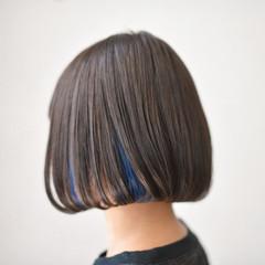 ボブ インナーカラー 外国人風 アッシュ ヘアスタイルや髪型の写真・画像
