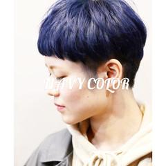 ネイビーブルー ターコイズブルー ブルー ストリート ヘアスタイルや髪型の写真・画像