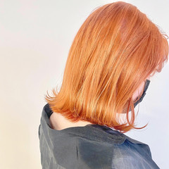 ナチュラル アプリコットオレンジ オレンジカラー ボブ ヘアスタイルや髪型の写真・画像