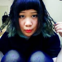 丸顔 黒髪 ゆるふわ グラデーションカラー ヘアスタイルや髪型の写真・画像