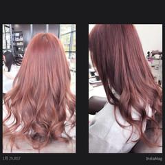 ピンク ベージュ 艶髪 ロング ヘアスタイルや髪型の写真・画像