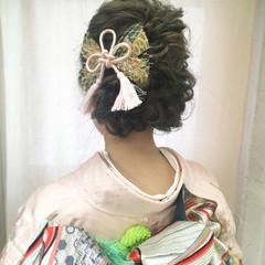 着物 ミディアム 編み込み ヘアアレンジ ヘアスタイルや髪型の写真・画像