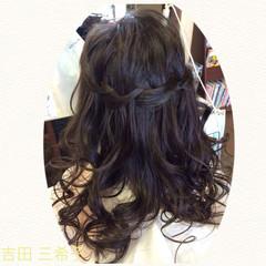 編み込み 簡単ヘアアレンジ ウォーターフォール ロング ヘアスタイルや髪型の写真・画像