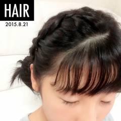 黒髪 面長 フェミニン ヘアアレンジ ヘアスタイルや髪型の写真・画像