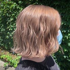 インナーカラー ピンクベージュ ピンクパープル ボブ ヘアスタイルや髪型の写真・画像