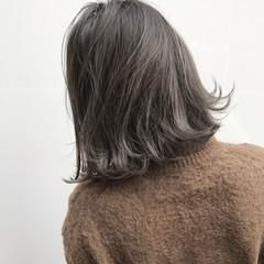 色気 アッシュ ボブ ナチュラル ヘアスタイルや髪型の写真・画像