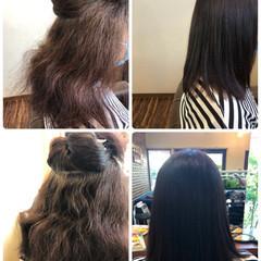ブラウン ストレート 縮毛矯正 セミロング ヘアスタイルや髪型の写真・画像