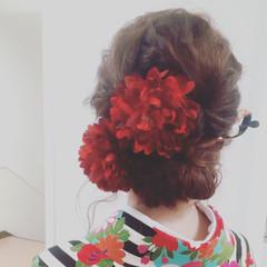 ヘアアレンジ セミロング 夏 外国人風 ヘアスタイルや髪型の写真・画像