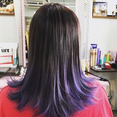 ストリート ミディアム パープル 暗髪 ヘアスタイルや髪型の写真・画像
