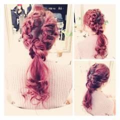 コンサバ 愛され ピンク レッド ヘアスタイルや髪型の写真・画像