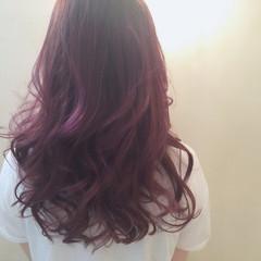 暗髪 ストリート フェミニン パープル ヘアスタイルや髪型の写真・画像