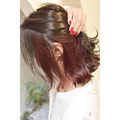 インナーカラーレッド ガーリー レッドカラー ボブ ヘアスタイルや髪型の写真・画像