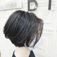 外ハネ ボブ ミニボブ ハイライト ヘアスタイルや髪型の写真・画像