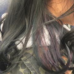 インナーカラー ミディアム ストリート イルミナカラー ヘアスタイルや髪型の写真・画像