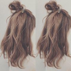 ヘアアレンジ ロング お団子 ガーリー ヘアスタイルや髪型の写真・画像