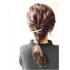 簡単ヘアアレンジ セミロング ショート 大人かわいい ヘアスタイルや髪型の写真・画像