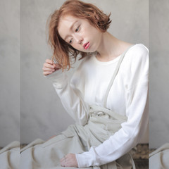 切りっぱなしボブ ショートボブ 透明感カラー ナチュラル ヘアスタイルや髪型の写真・画像