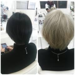 アッシュ 黒髪 グラデーションカラー 外国人風 ヘアスタイルや髪型の写真・画像