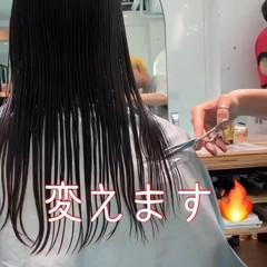 ラベンダーピンク ピンクアッシュ デート セミロング ヘアスタイルや髪型の写真・画像