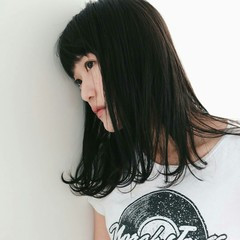 前髪あり 女子会 こなれ感 セミロング ヘアスタイルや髪型の写真・画像