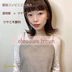 ボブ 切りっぱなし ショコラブラウン ナチュラル ヘアスタイルや髪型の写真・画像