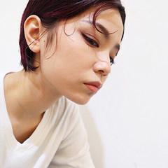 かっこいい ベリーショート レッド ボーイッシュ ヘアスタイルや髪型の写真・画像