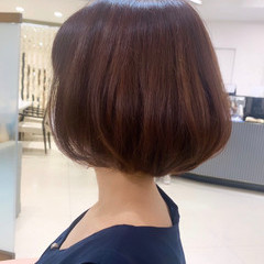 ラベンダーピンク ショートボブ ナチュラル ピンクブラウン ヘアスタイルや髪型の写真・画像