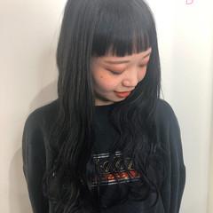 モード ロング ブルーブラック 大人ロング ヘアスタイルや髪型の写真・画像