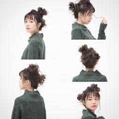 ピュア セミロング 小顔 簡単ヘアアレンジ ヘアスタイルや髪型の写真・画像