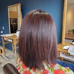 チェリーピンク ナチュラル ブリーチなし ミディアム ヘアスタイルや髪型の写真・画像