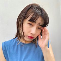 韓国風ヘアー ヘアカラー ボブ カジュアル ヘアスタイルや髪型の写真・画像