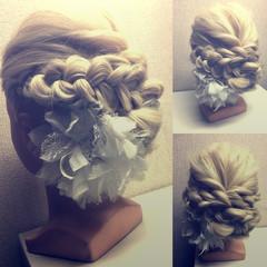簡単ヘアアレンジ 結婚式 編み込み ヘアアレンジ ヘアスタイルや髪型の写真・画像