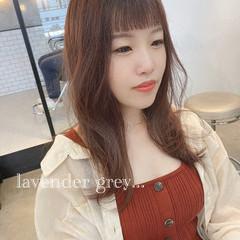 ミルクティーベージュ ラベンダーグレージュ セミロング ピンクブラウン ヘアスタイルや髪型の写真・画像