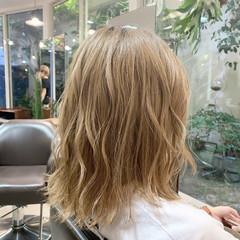 モテボブ ベージュ 大人女子 ボブ ヘアスタイルや髪型の写真・画像