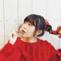 バレンタイン ヘアアレンジ ポニーテール 三つ編み ヘアスタイルや髪型の写真・画像