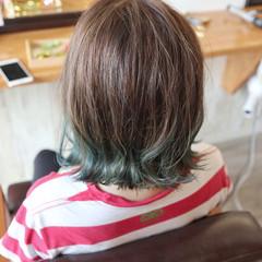 デザインカラー 外ハネ ボブ 透明感カラー ヘアスタイルや髪型の写真・画像