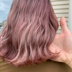 ガーリー ピンク ピンクパープル ミディアム ヘアスタイルや髪型の写真・画像