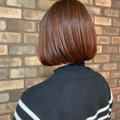 ナチュラル イルミナカラー ボブ ピンクブラウン ヘアスタイルや髪型の写真・画像