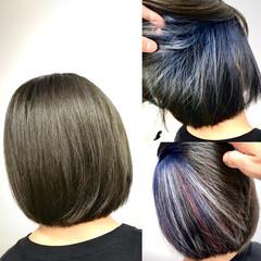 ナチュラル インナーカラー ボブ ハイライト ヘアスタイルや髪型の写真・画像