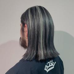 メンズ ハイライト 切りっぱなしボブ ボブ ヘアスタイルや髪型の写真・画像