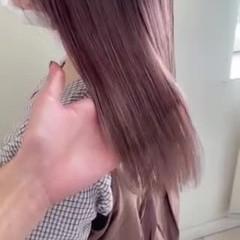 バレイヤージュ ピンク フェミニン セミロング ヘアスタイルや髪型の写真・画像