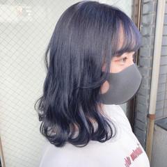 ブルーバイオレット ミディアム ブルージュ ブルーブラック ヘアスタイルや髪型の写真・画像