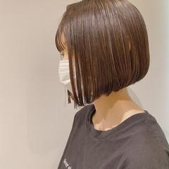 透明感カラー 束感バング ナチュラル まとまるボブ ヘアスタイルや髪型の写真・画像
