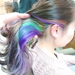 インナーカラー ブリーチ 銀座美容室 インナーカラーパープル ヘアスタイルや髪型の写真・画像