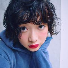 前髪あり パーマ ストリート ショート ヘアスタイルや髪型の写真・画像
