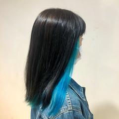 ロング ブルー ストリート インナーカラー ヘアスタイルや髪型の写真・画像