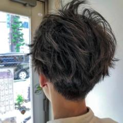 ショート ツーブロック アッシュグレージュ 外国人風カラー ヘアスタイルや髪型の写真・画像