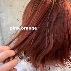 ブリーチカラー モード ダブルカラー オレンジカラー ヘアスタイルや髪型の写真・画像