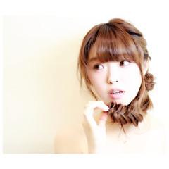 ヘアアレンジ セミロング 夏 グラデーションカラー ヘアスタイルや髪型の写真・画像